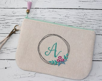 Small Clutch - Personalized - Wristlet with Initials - Linen Bag - Embroidered Clutch