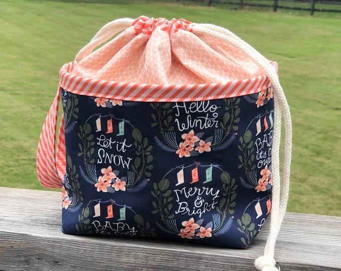 Project Bag - Navy Christmas Sayings - Bloom Basket
