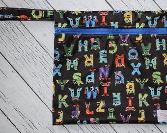 Small Wet Bag - Monster Alphabet
