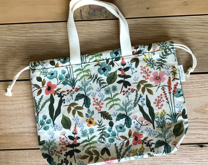 Drawstring Bag - Tote Bag - Project Bag - Rifle Paper Co - Flores