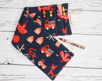 Crayon Roll - 16 Crayons - Cotton and Steel - Navy and Red