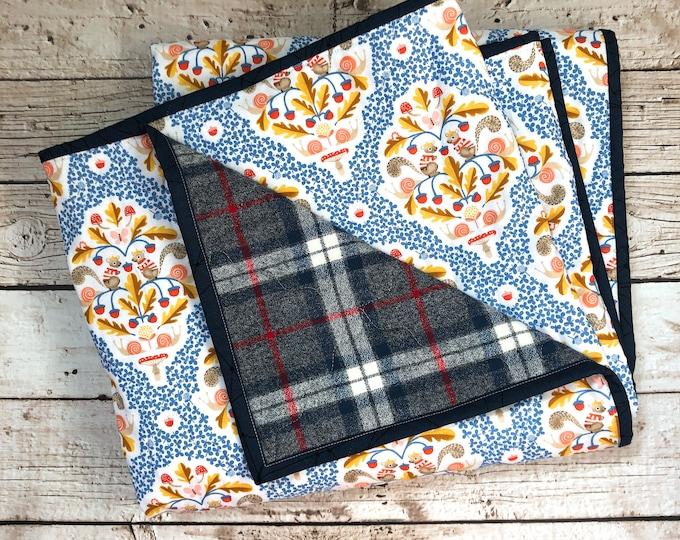 Whole Cloth Quilt - Squirrels - Lap Blanket