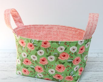 Fabric Basket - Green and Pink flowers
