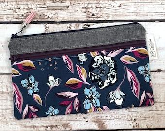 Double Zipper Pouch - Enchanted Flora Ablue - Lisbon Pouch