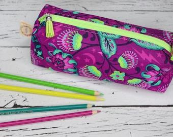Large Pencil Pouch - Boxy Box - Tula Pink - De la Luna - Venus Purple