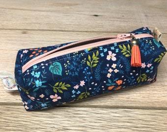 Pencil Pouch - Rifle Paper Co - Boxy Pouch - Navy Garden Pouch