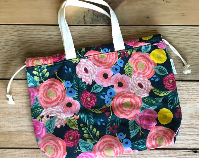 Drawstring Bag - Tote Bag - Project Bag - Navy with Flowers