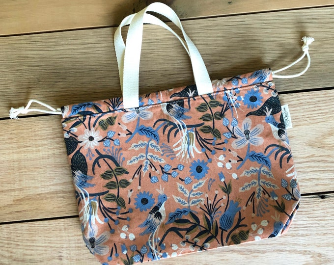 Drawstring bag - Tote Bag- Project Bag - Canvas Tote