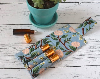 Essential Oil Wallet - Blue Flowers - Wildwood - Rifle Paper Co Fabric - 4 Rolls