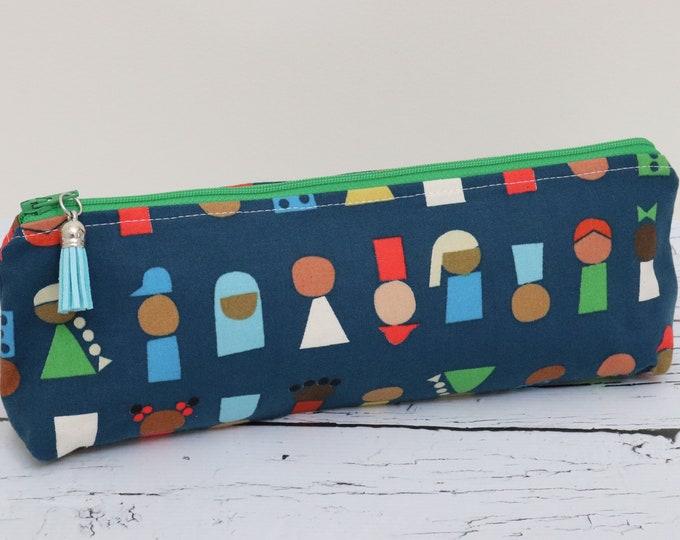 Pencil Pouch - Little People Blue