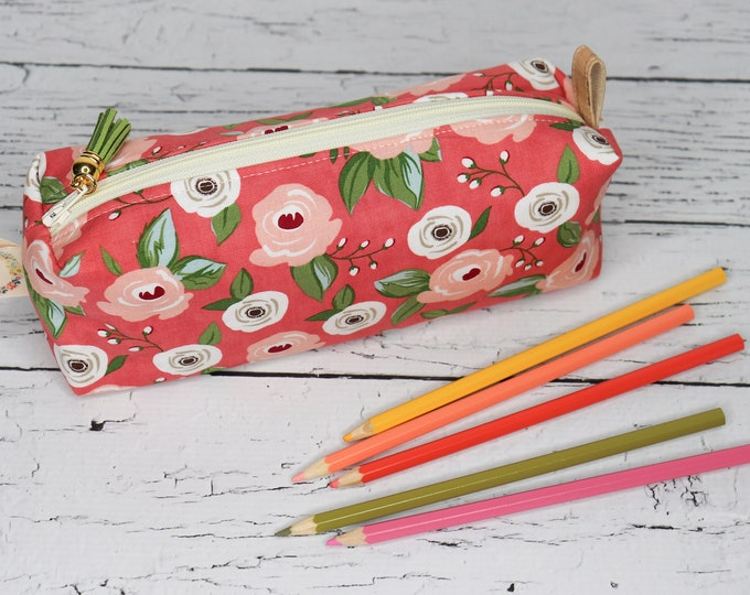 Large Pencil Pouch - boxy pouch - Peach Flowers