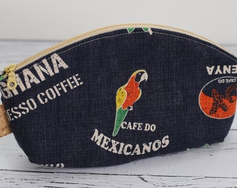 Petal Pouch - Coffee Sack Navy Cotton Pouch - Makeup bag