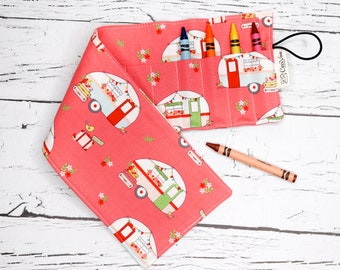 Crayon Roll - 16 Crayons Roll - Cute Campers