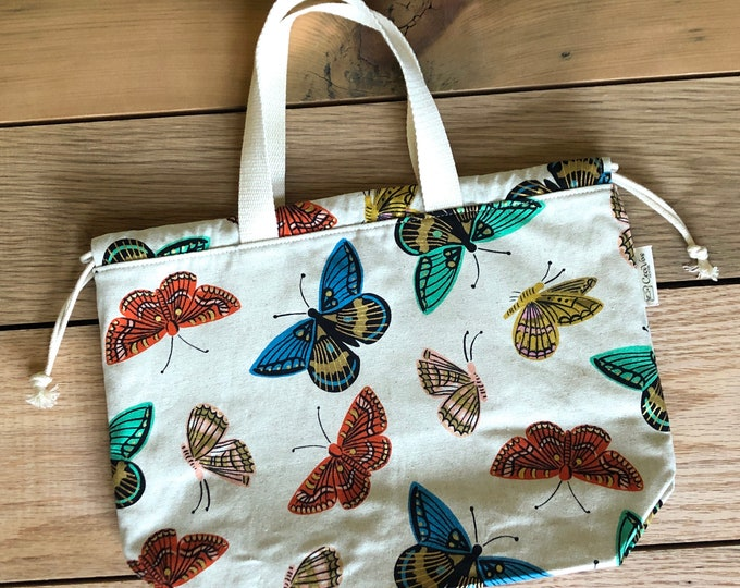 Drawstring Bag - Tote Bag - Project Bag - Butterflies