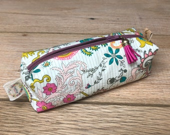 Pencil Pouch - boxy pouch - White and pink Pouch