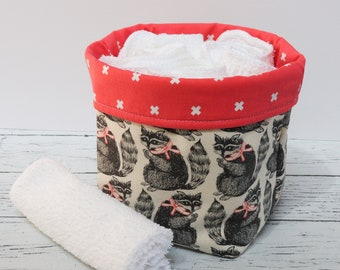 Small Fabric Basket - Raccoons