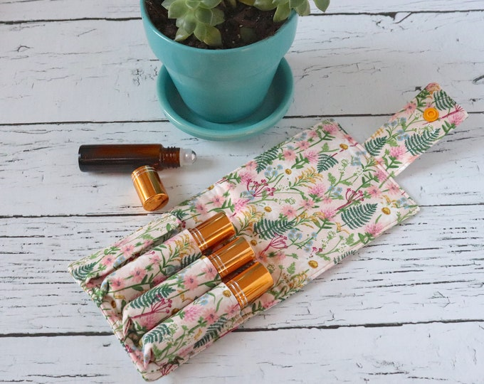 Essential Oil Wallet - Wild Flowers Pink - Wildwood - Rifle Paper Co Fabric - 4 Rolls