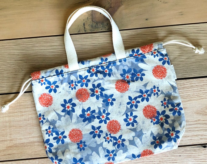 Drawstring Bag - Tote Bag - Project Bag - Daisies