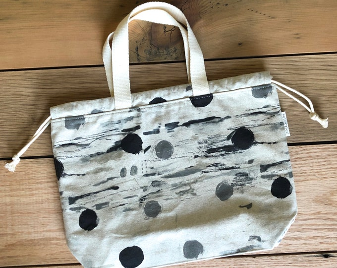 Drawstring Bag - Tote Bag - Project Bag - Dots