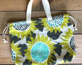 Drawstring Bag - Tote Bag - Project Bag - Sunflower Bag