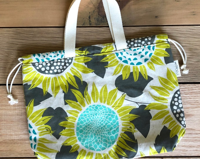 Drawstring Bag - Tote Bag - Project Bag - Sunflower Bag