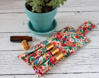 Essential Oil Wallet - Pink Garden - Wildwood - Rifle Paper Co Fabric - 4 Pack