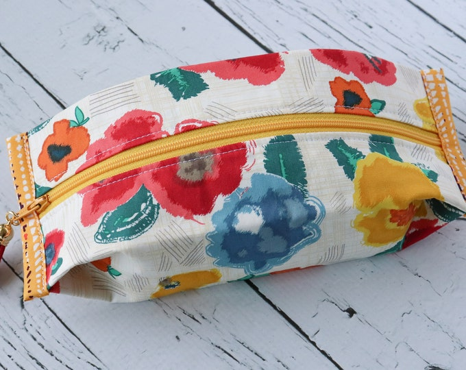 Popcorn Pouch - Fun Flowers - zippered pouch