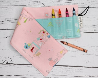 Crayon Roll - 16 Crayons Roll - Pink little Store
