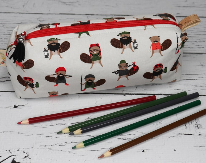Large Pencil Pouch - Boxy Pouch - Beavers