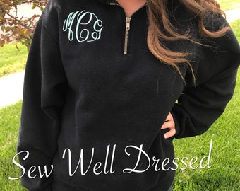 Monogrammed Pullover / Monogrammed quarter zip pull over  / Personalized sweatshirt / 1/4 zip / Christmas gift / Personalized / Monogram 1/4