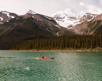 Canada Lake Prints Photography, Canada Lake Decor, Maligne Lake print, Canada Landscape photography, Lake decor Wall Art, Lake poster, Canoe