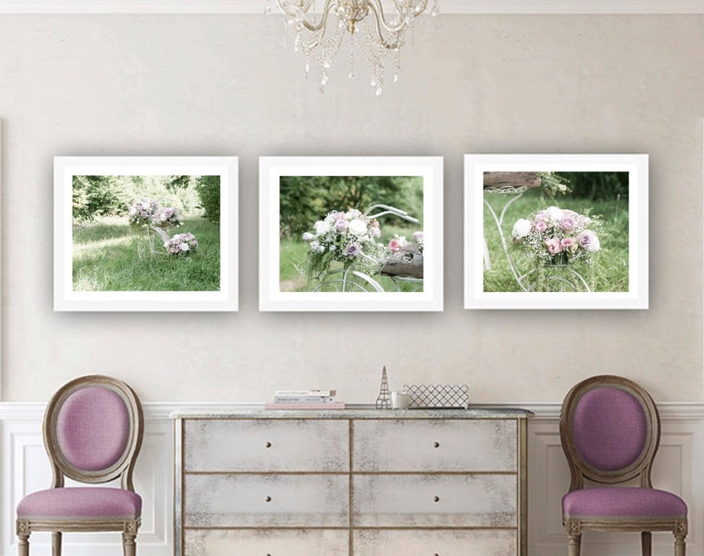 Spring flowers Floral print set of three Roses Pink and pastel flower photography