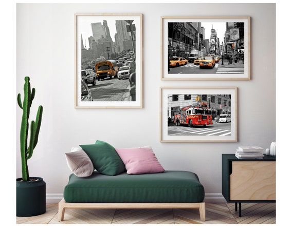 New York Photography Prints Set Of Three Wall Decor, Times Square Gallery  Black and White print, Yellow taxi cab, NYC Colour Pop Kids Decor