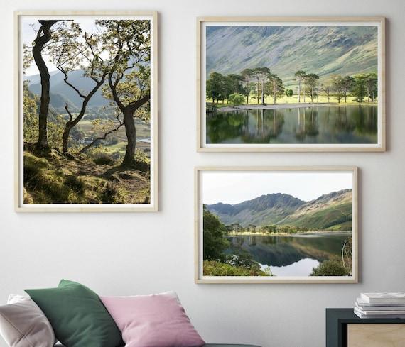 Multi 3 Panel Set Triple Canvas Picture Derwent water Lake District Wall Art