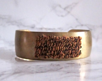 Brass Cuff Bracelet - woven tapestry - fabric bracelet - woven bracelet // ORANGE TEXTURED CUFF - minimal cuff bracelet