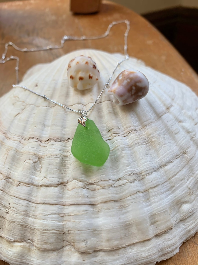 Lime green sea glass pendant with sterling silver bail and 18\u201d sterling silver chain sea glass necklace boho jewelry beach glass jewelry