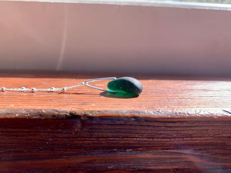 sea glass jewelry handmade silver plated bail on 16\u201d silver chain silver jewelry Teal sea glass pendant teal sea glass upcycled jewelry