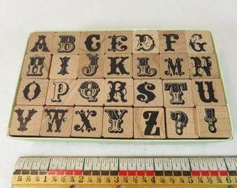 Rubber Stamps Cowboy's Ransom Alphabet Upper Case 5/8 Tall 2007  Wood Block Mounted  28 stamps Limited Edition