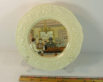 1930's Whimsical English Bar Pub Scene - One On The House 9 inch Plate Humor