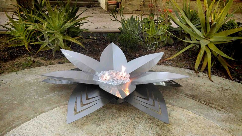 Lotus Fire Art Gas Burning Fire Pit Chevron Design Etsy