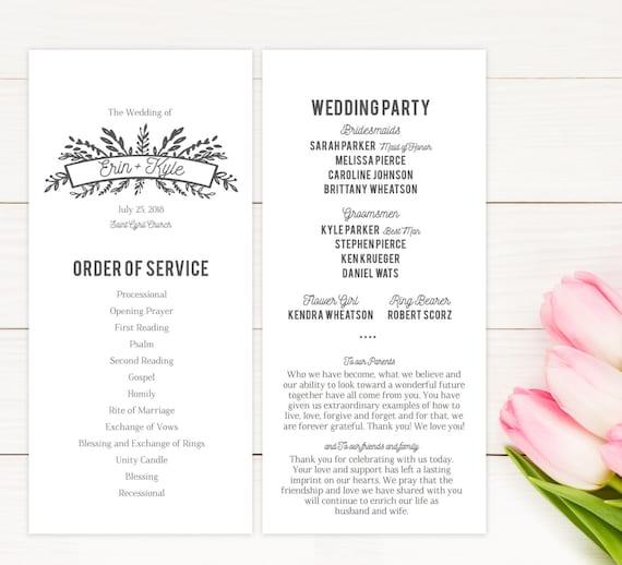 wedding ceremony church program printable pdf etsy