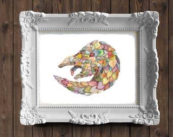Pangolin Illustration~Pangolin Watercolor Art~Whimsical Pangolins at Play~Wildlife Watercolor Nursery Art~Pangolin Original Art Drawing