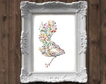 Bird in the Garden / Flowers Watercolor Painting - art print
