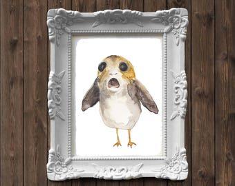 Screaming Porg (Star Wars) Watercolor Painting - art print
