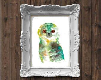 Owl Watercolor Painting - art print