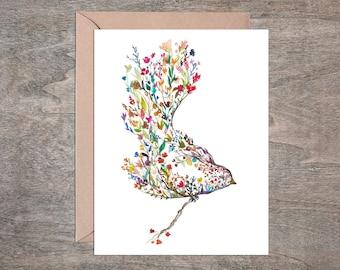 Garden Bird and Garden Deer Blank Note Card Set Watercolor (Set of 10 cards)