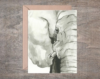 Elephant Blank Note Card Set Watercolor (Set of 10 cards)
