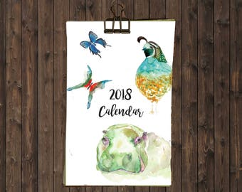 2018 Wall Calendar // Watercolor Animals