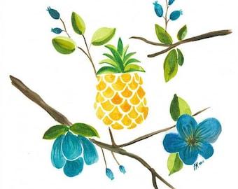Pineapple Watercolor Painting - art print