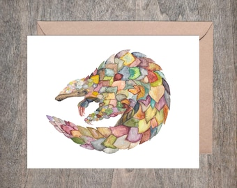 Pangolin Endangered Species Note Card Set Watercolor (Set of 10 cards)